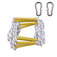GQ Outdoor Rope Ladder, 10-20 Meters Emergency Fire Escape Ladders - Soft Safety Ladder with Carabiners, for Kids and Adults Escape from Window and Balcony, Professional Aids Rope
