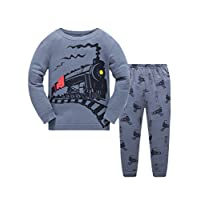 Boys Christmas Pyjamas Set Toddler Kids Cars Train Truck Print Pjs Sets 100% Cotton Long Sleeve Nightwear Sleepwear Clothes Set for Boy, 5-6 Years, Train