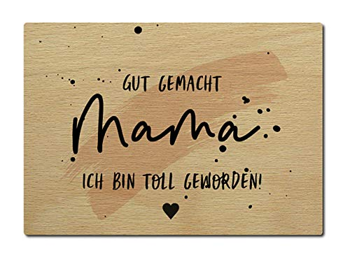 Interluxe Postkarte aus Holz Gut gemacht Mama ich bin echt toll geworden DIN A6 105x148mm Karte Echtholz Grußkarte Spruch Muttertag Mutter