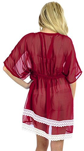 La Leela leichte Chiffon-Bikini-Vertuschung Kaftan Badeanzug Bademantel Beachy Kleid Boho Badeanzug Bluse und lose Badebekleidung Tunika Rot