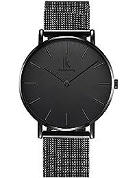 Alienwork Reloj cuarzo elegante cuarzo moda diseño atemporal clásico Metal negro U04916G-03