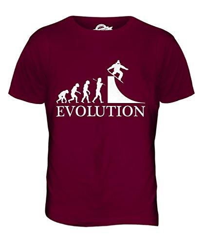 CandyMix Snowboarden Evolution Des Menschen Herren T Shirt Burgunderrot