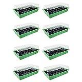 Quantio 8X Zimmergewächshaus - für bis zu 192 Pflanzen, ca. 36 x 22 x 12 cm (LxBxH) je Mini Gewächshaus, Kunststoff, grün/schwarz/transparent
