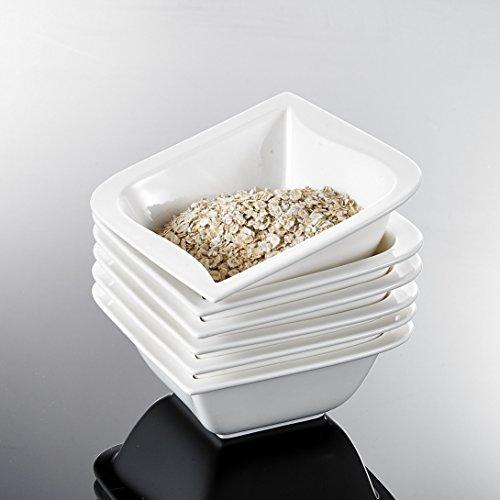 Malacasa, Serie Joesfa, 6 tlg. Set Cremeweiß Porzellan 5,25 Zoll / 13,5*13,5*5,5cm Schüssel Müslischüssel Salatschüsseln Dessertschalen Bowl für 6 Personen
