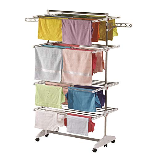 One Click Luxus Wäscheständer® E4, Seitenflügel auf 4 Ebenen, klappbarer Wäscheturm für große Familien
