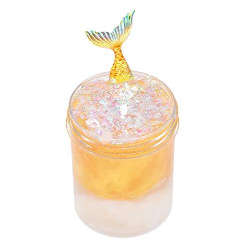 Lukame✯Schleim Kristall Schlamm Kit Diy,Cloud Slime Stress Kinder Schleim Spielzeug 120Ml Mermaid Tail Slime Cloud Slime (Platin)