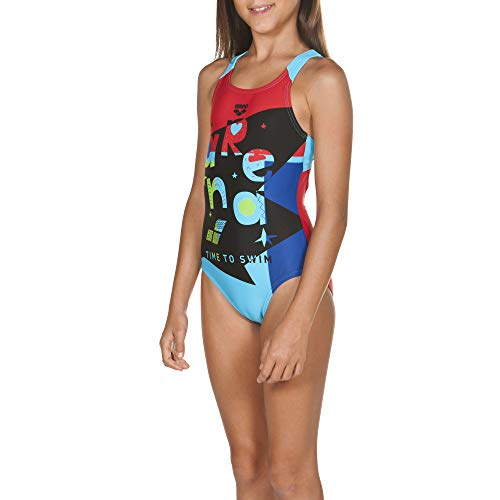 26cd720d27 arena Girls Sports Swimsuit Swim Time Maillot Une pièce Fille, Red-Sea Blue,