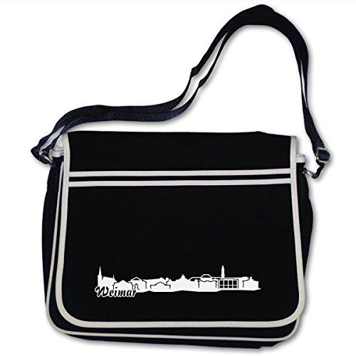 Schultasche Weimar Skyline Thüringen Bag Base® BagBase Retro Messenger 40x30x10cm schwarz/weiß