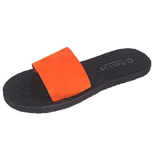 Fenverk Damen Pantoletten Badeschlappen Weich Badeschuhe Strand Sandalen Mit rutschfeste Badelatschen Dusch-& FüR Frauen rutschfest Und Leicht(Orange,41 EU)