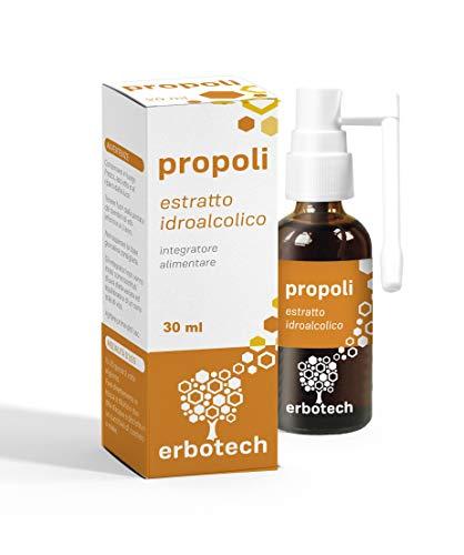 Erbotech - PROPOLI (propolis) SPRAY GOLA Tintura Madre, estratto 100% puro. Rimedio naturale per mal di gola, tosse, faringite, gengivite, afte