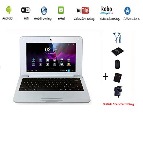 G-Anica® Netbook Laptop PC Ultrabook Android 4.4 HDMI écr.10 (Wifi-SD-MMC), Laptop Bag + Mouse + Mouse Pad + Earphone (4 PCS Accessories) (Silver)