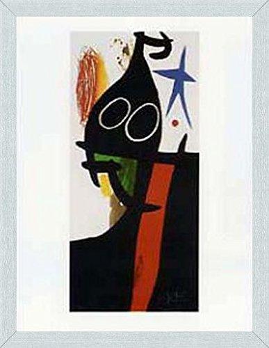 Joan Miró Poster Kunstdruck und MDF-Rahmen Holzoptik Aluminium Gebürstet - Der Sarazene Mit Dem Blauen Stern (80 x 60cm)