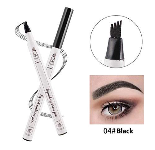 (Liquid Tattoo Augenbrauenstift, ASKSA 4 Spitzenpinsel 3D Augenbrauenstift für Augenbrauen Make-up, Wasserdicht, Wischfest (Schwarz))
