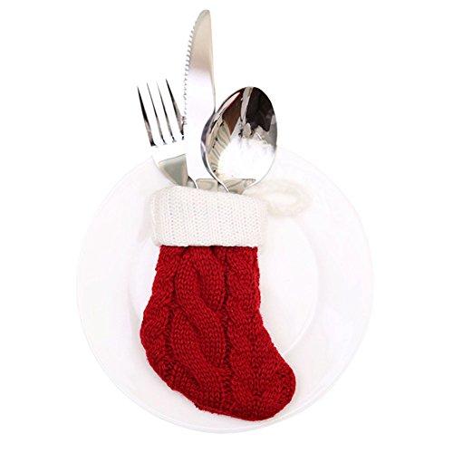 West See 10pcs oder 6pcs Besteckhalterset Bestecktasche Weihnachten Besteckhalter Besteckbeutel Weihnachtsdeko Tische Accessoires (10 Stück)
