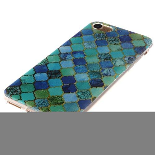 Ooboom® iPhone 8/iPhone 7 Hülle TPU Silikon Gel Ultra Dünn Schutzhülle Weich Stoßstange Handy Tasche Case Cover für iPhone 8/iPhone 7 - Menschlicher Mond Laternen Blau