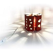 Lampada da tavolo Manhattan San Valentino - in cartoncino ondulato rosso, con lampada LED inclusa