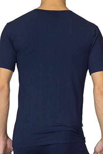 Calida Pure & Striped T-Shirt mit V-Ausschnitt Herren Dark Blue