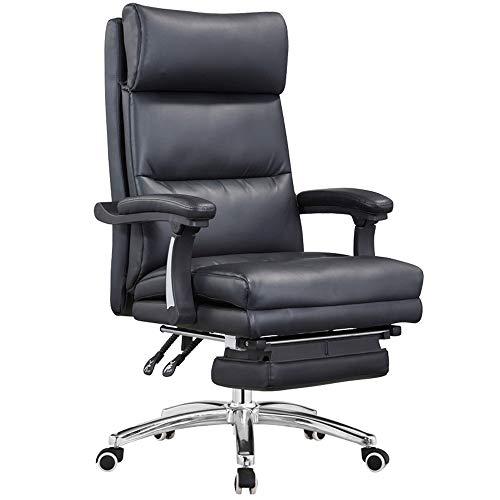 EAHKGmh Ergonomische Lordosenstütze Für Bürostuhl Mittagspause Stuhl Mit Pedal Schwarzes Leder Art High-Back Executive-Drehstuhl Computer Schreibtisch Gaming Chair