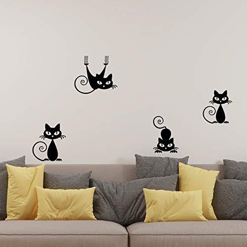 Schwarze nette Katze schnitzte dekorative Malerei des Wandaufkleberwohnzimmerschlafzimmers (Net Creek)