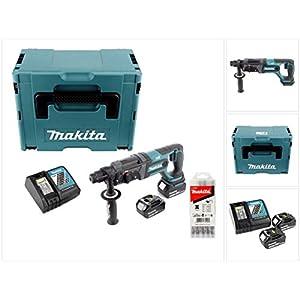 Makita DHR 241 RFJ Akku Bohrhammer 18 V Li-Ion mit SDS-Plus Aufnahme im Makpac + 2x 3,0 Ah Akku + Schnellladegerät + 5…