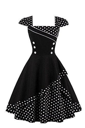 Damen 50er Jahre Vintage Rockabilly Kleid Pin up Cocktailkleid Polka Dots Partykleid Knielang- Gr. 4XL (48), Schwarz