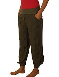 9009 Damen-Mädchen Sweat Harem Leinen Hose blau braun braun schwarz weiß rot grün beige pink M L XL XXL.