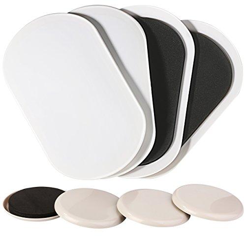 Premium 4Pack 9–1/5,1cm X 5–3/10,2cm Oval schwere Möbel Regler & 4Pack 8,9cm Möbel Slider für Teppich–Schwere Möbel Mover 8,9cm und 9–1/5,1cm X 5–3/10,2cm Bewegung Pads für Teppich–Möbel, linkw 8Stück wiederverwendbar Furniture Movers Gleitern, die in ein Reißverschluss Tasche für Aufbewahrung