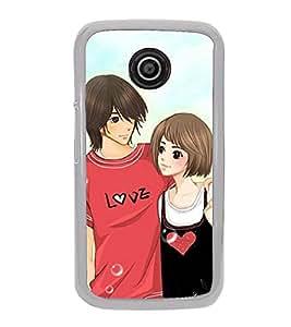 Love Couple 2D Hard Polycarbonate Designer Back Case Cover for Motorola Moto E2 :: Motorola Moto E Dual SIM( 2nd Gen) :: Motorola Moto E 2nd Gen 3G XT1506 :: Motorola Moto E 2nd Gen 4G XT1521
