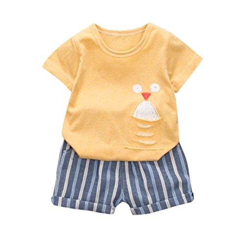Kinder Baby Jungen Karikatur T-Shirt Oberteile + Taschenhosen Kleiderset Gestreift Drucken Shirt + Hosen Babykleidung-Anzüge(12-36Monate) Blusen Leggings Sweatshirt Outfits (75-80CM, Gelb)