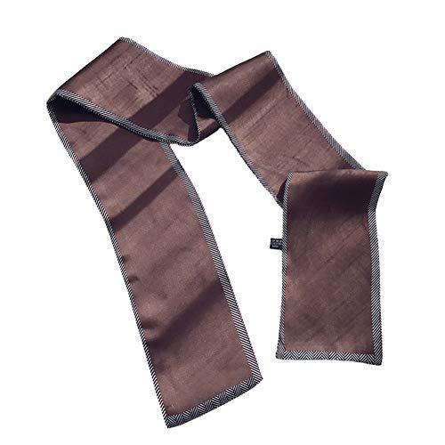 Tonpot Eleganter Seidenschal Noble Design gestreifte Bordüre Seide Schal Wild Kleidung Zubehör für Büro Lady, Satin, Coffee, 97 * 10cm