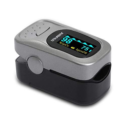 JUMPER Pulsoximeter mit Großem OLED Bildschirm Finger SpO2 Pulsmesser Pulsmessgerät zur Messung der Blutsauerstoffsättigung und Herzfrequenz (Silber)