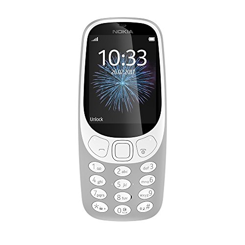 Nokia 3310 2G Mobiltelefon (2,4 Zoll Farbdisplay, 2MP Kamera, Bluetooth, Radio, MP3 Player, Dual Sim) retro grey (Nokia 3310)