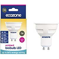 Ecozone LED Bio Bulb, Energy Saving, GU10 Fitting, Warm White, 7W Equivalent to 50W, 550 Lumens, 2700K Ambient, Up To 86% Energy Saving, Up To 25,000 Hours Lifetime, Energy Class A+