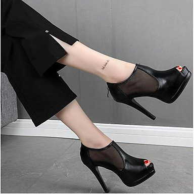 pwne Donna stivali inverno Mary Jane PU Casual Chunky Heel Black US8 / EU39 / UK6 / CN39 US8.5 / EU39 / UK6.5 / CN40