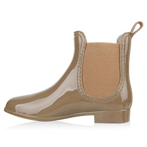 Damen Stiefeletten | Chelsea Boots | Gummistiefeletten Lack | Gummistiefel Regenschuhe Beige