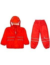 Elka traje para lluvia Pantalones + chaqueta para niños, diseño de rayas y colores Simples muchos tamaños 220 g/poliéster Varios colores rojo Talla:86