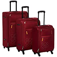 Kamiliant by American Tourister Gaho Softside Spinner Luggage Set of 3, with Number Lock - Red