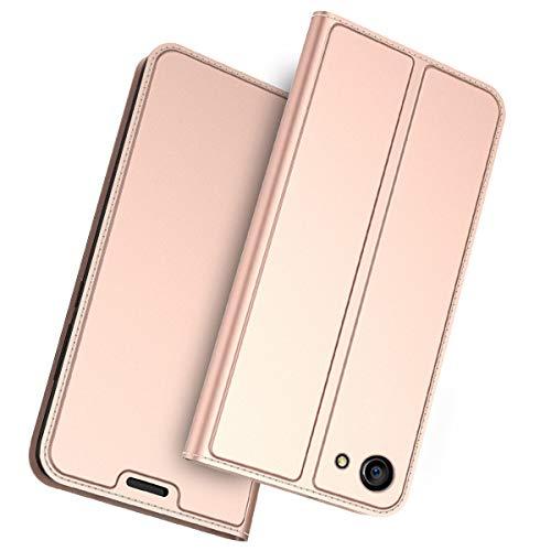 FugouSell Oppo A83 Leder Hülle, Premium PU Leder etui Schutzhülle Tasche mit Kippständer, Slim Flip Case Cover für Oppo A83(Rose Gold)