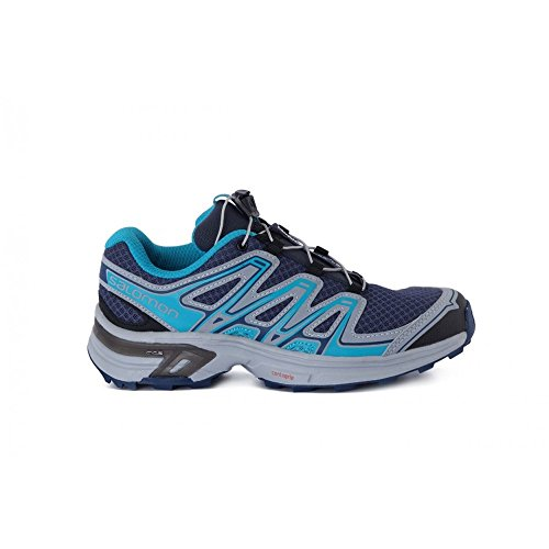 Salomon Damen L38155800 Trail Runnins Sneakers, Schwarz Blau-Schwarz