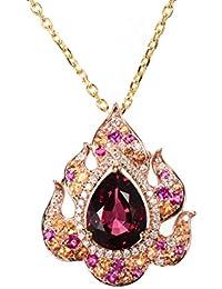 Hutang Gemstone sólido 18ct Rose oro verdadero Rhodolite granate y diamantes y Ruby colgante y collar para las mujeres diamond-jewelry