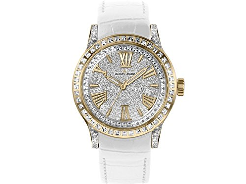 Jacques Lemans Porto 1-1798B 42mm Ion Plated Stainless Steel Case Calfskin Mineral Women's Watch