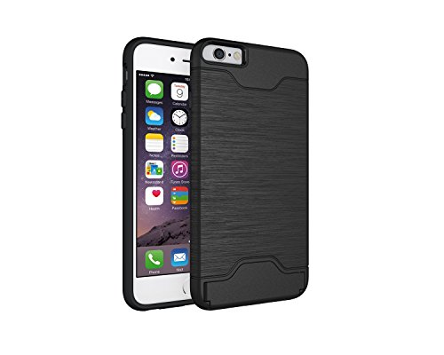 Für Apple IPhone 6 & 6s Plus Stoßfänger, gebürstet Metall Finish Shockproof Schock Absorbtion Schutzhülle Premium Soft Fexible TPU Silikon Abdeckung mit Halter & Card Slot ( Color : Green ) Black