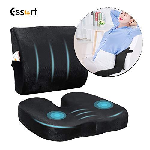 Essort sedile cuscino a forma di u, posteriore in memory foam, cuscino con gel ortopedico terapeutico per ufficio, casa, auto, sedia a rotelle, alleviare schiena sciatica e dolore coccige nero