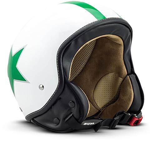 SOXON SP-301-STAR Green Motorrad-Helm Roller-Helm Jet-Helm Bobber Scooter-Helm Pilot Cruiser Vintage Mofa Chopper Helmet Biker Vespa-Helm Retro, ECE zertifiziert, inkl. Stofftragetasche, Grün (Star), L (59-60cm) (Helm Agv Grün)