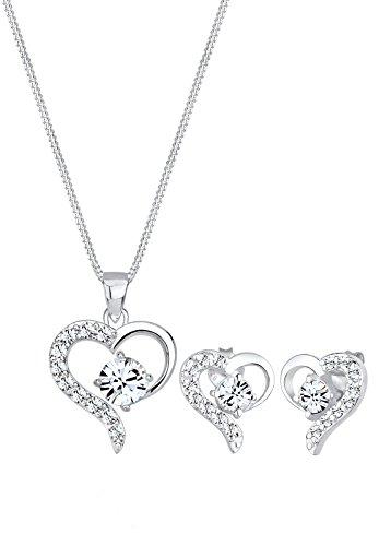 Elli Damen Schmuck Schmuckset Halskette + Ohrringe Herz Liebe Freundschaft Liebesbeweis Silber 925 Swarovski® Kristalle Weiß Länge 45 cm