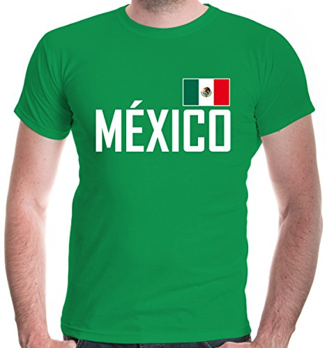 irt Mexiko | México Mexico Mexique Messico Amerika Ländershirt Fanshirt Trikot Reise | L, Grün (Tourist Kostüm Halloween)