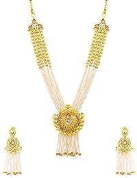 Voylla Designer Gold Alloy Sparkling Gem Embellished Multi-Strand Necklace Set For Women's