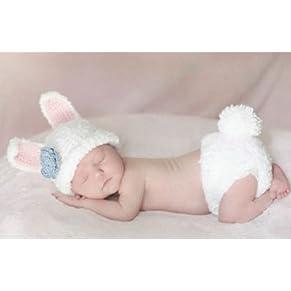Matissa Ltd - Disfraz de ganchillo, ideal para sesión de fotos conejo blanco Talla:recién nacido
