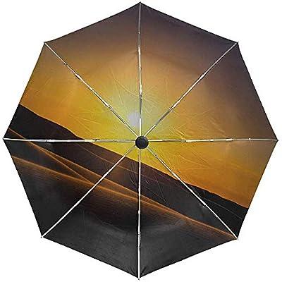 Paraguas automático Puesta de Sol Dunas de Arena Viaje Conveniente A Prueba de Viento Impermeable Plegable Automático Abrir Cerrar