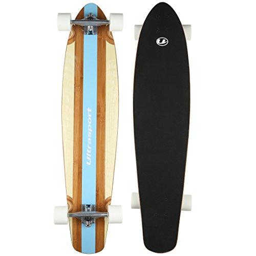 Ultrasport - Longboard, como monopatín, tabla de madera robusta de bambú y arce, fantástico longboard para la ciudad y el parque, diseño Surfer, rodamientos silenciosos ABEC 7